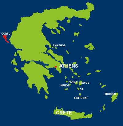 Map of Corfu - Greek Islands
