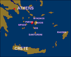 paros map - Greek Islands